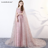 Abendkleider2019 new lace sequins long sleeve A Line blush pink evening gown simple vestido longo festa high quality robe soiree
