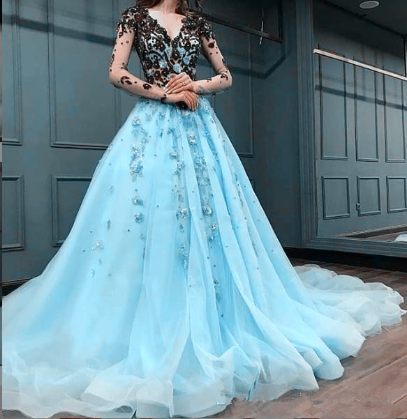 Mint Lace Beaded Arabic evening dress 2019 Evening Dresses Long Sleeves V-neck A-line Prom Dresses Formal Party Pageant Gown