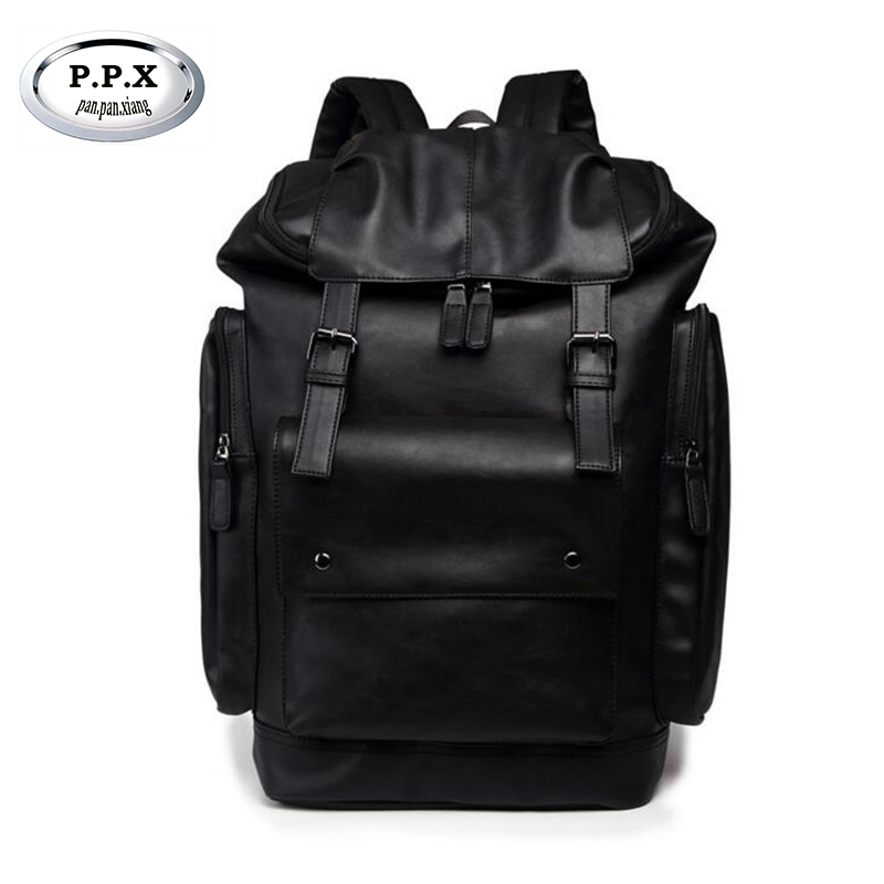 Korean Style Pu Leather Men Black 15 Inches Backpack Fashion Male Casual Boys School Shoulder Bags For Men's Backpack P391