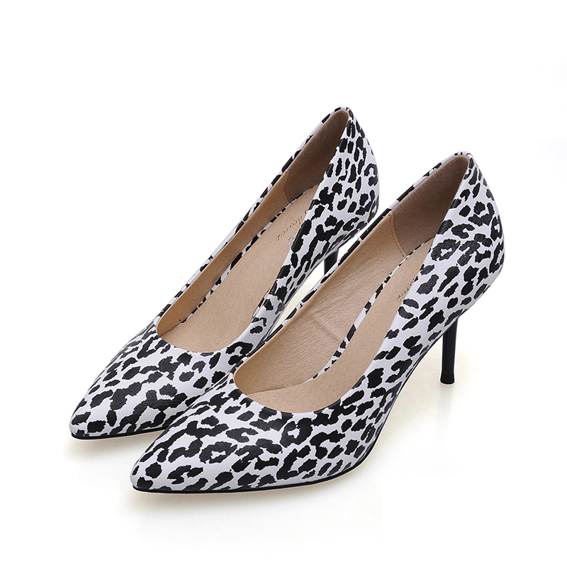ФОТО New Leopard Genuine Leather Sexy Women Shoes 2017 Summer Casual Party Thin High Heels Woman Pumps For Grils dames schoenen