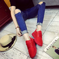 Мода Женская Обувь 2016 шнуровке Сетки Дышащий Повседневная Обувь Круглый Носок Женские Туфли Черный Красный Большой Размер 35-43