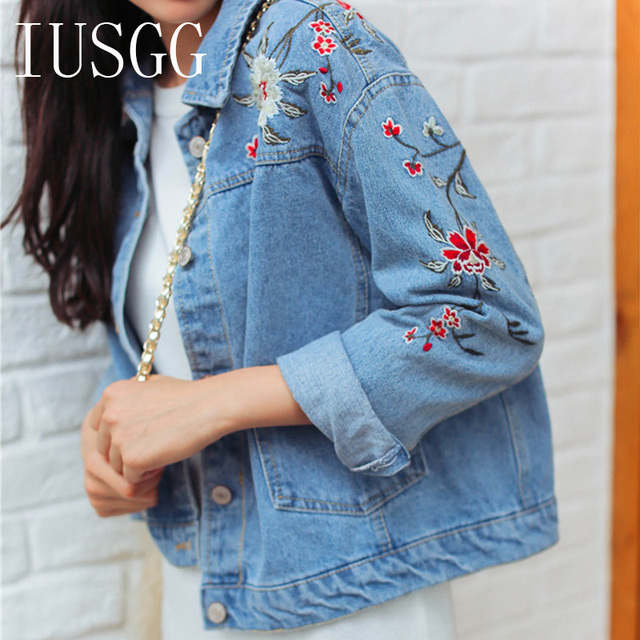 Iusgg Women Vintage Flower Embroidered Denim Jacket Flower Vine
