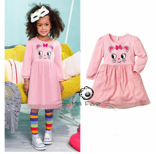 273b7820dcfd 2017 Girls Spring   autumn Hello Kitty Printed Princess Party Dress ...