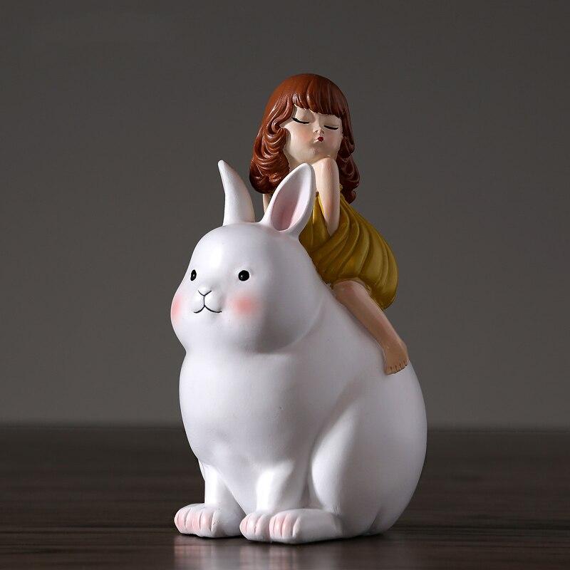 Детская комната украшения домашнего интерьера лунный кролик Окрашенные мультфильм скульп ...