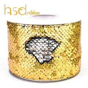 Image 5 - HSDRibbon 3 inch 75mm double color Sequin Fabric Reversible Glitter Sequin Ribbon 25Yards/Roll