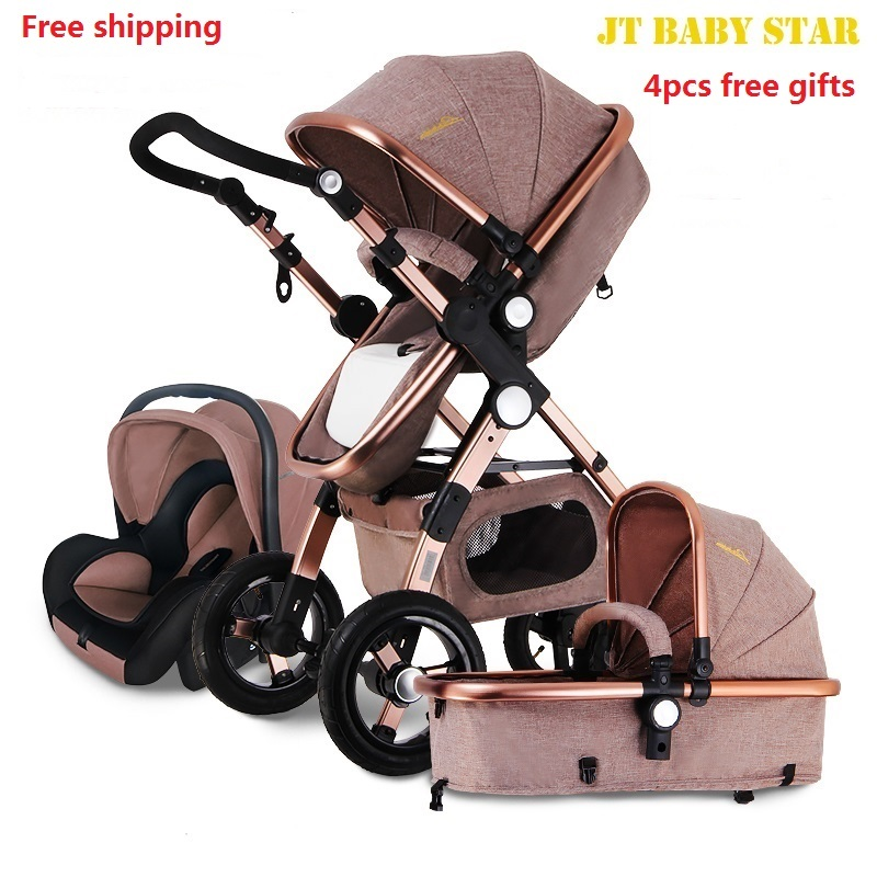 Freeshipping Higher Land-scape Baby Stroller Portable Folding Pram for Newborn to Preschool Luxury Carriage