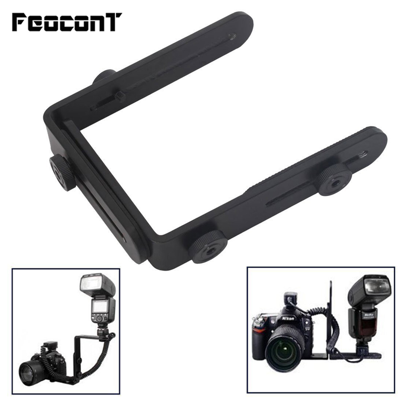 Wholesale 1/4 Hot Shoe Adapter camera flash bracket L bracket bilateral frame twin double L bracket L-bracket for Camera ws2790 bracket