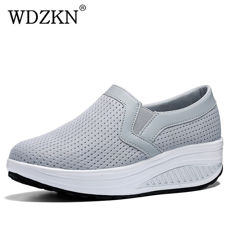 WDZKN Big Size 42 43 Women Shoes Breathable Air Mesh Summer Flat Platform Shoes Women Slip On Sneakers Casual Ladies Shoes H1608 summer women flat platform shoes woman casual mesh breathable slip on zapatos mujer ladies flats moccasins plus size 35 42 lx5