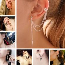 ES10009 Stud Earrings For Women Feather Tassel Cat Star Spider Brincos Ear Cuff Fashion Jewelry 2019
