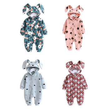 Newborn Baby Spring-autumn Rompers Long Sleeve Cartoon Rabbit Clothes Toddler Baby Cotton Hooded Climbing Jumpsuit Romper Out baby rompers autumn long sleeve newborn baby boy girl bear toddler jumpsuit romper baby clothes hooded 2018 cute clothing 2yrs