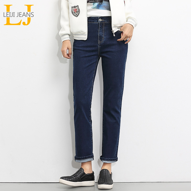 LEIJIJEANS Spring And Summer Plus Size Cotton Solid Blue High Waist Full Length Loose Straight Women Stretch   Jeans   5430