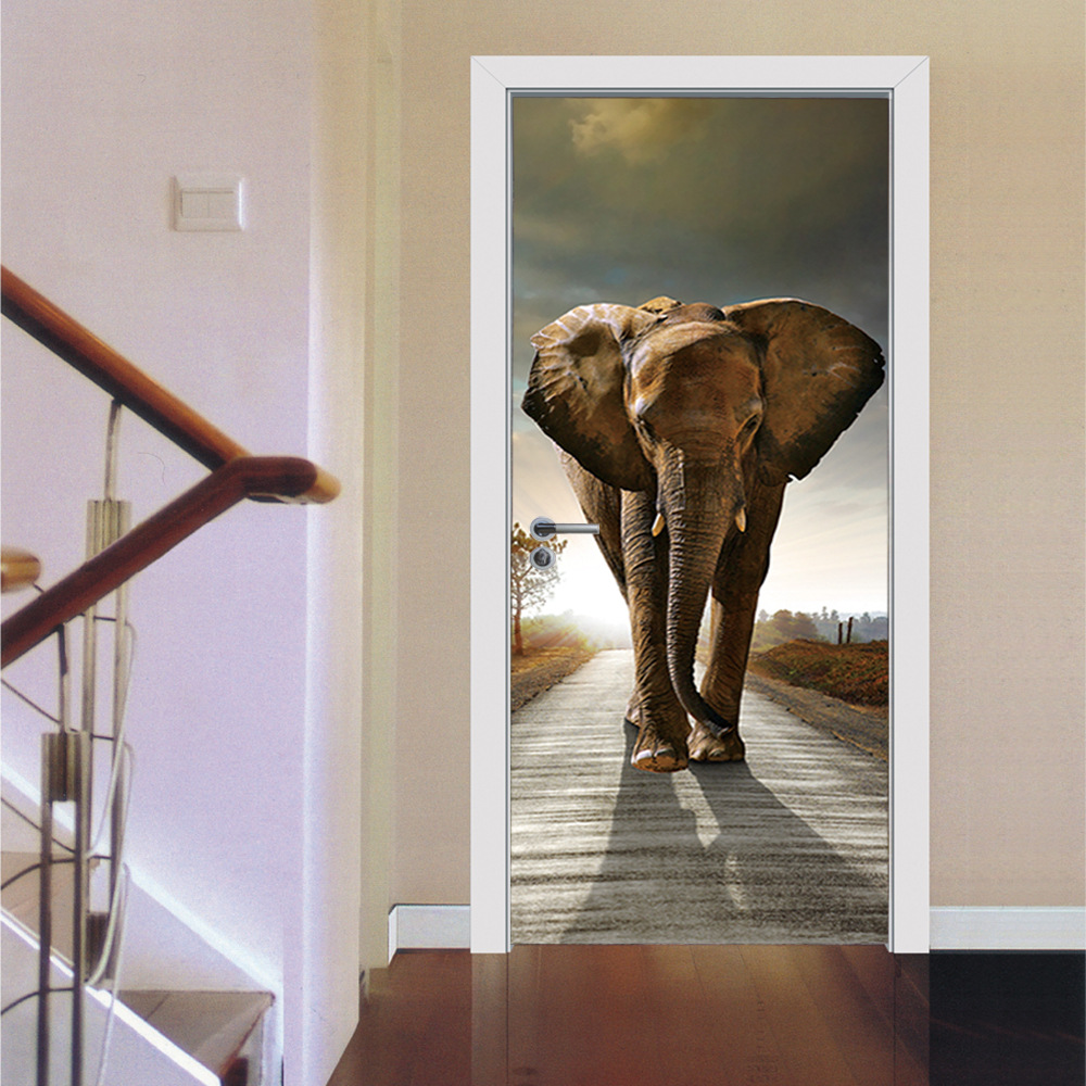 Wall art elephant - 77 200cm Smooth Door Styling Animal Stickers Elephant 3d Wall Art Murals Home Living Room