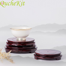 10/12/14cm Diameter Wood Carving Round Stand Base Rotate Vase Base Stone Crafts Temple Teapot Home Decoration Zen Ornaments