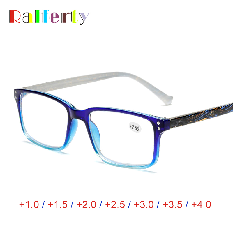 Ralferty Square Printed Reading Glasses Women Diopter Medical Presbyopic Eyeglasses +1.0 +1.5 +2.0 +2.5 +3.0 +3.5 +4.0 A6907