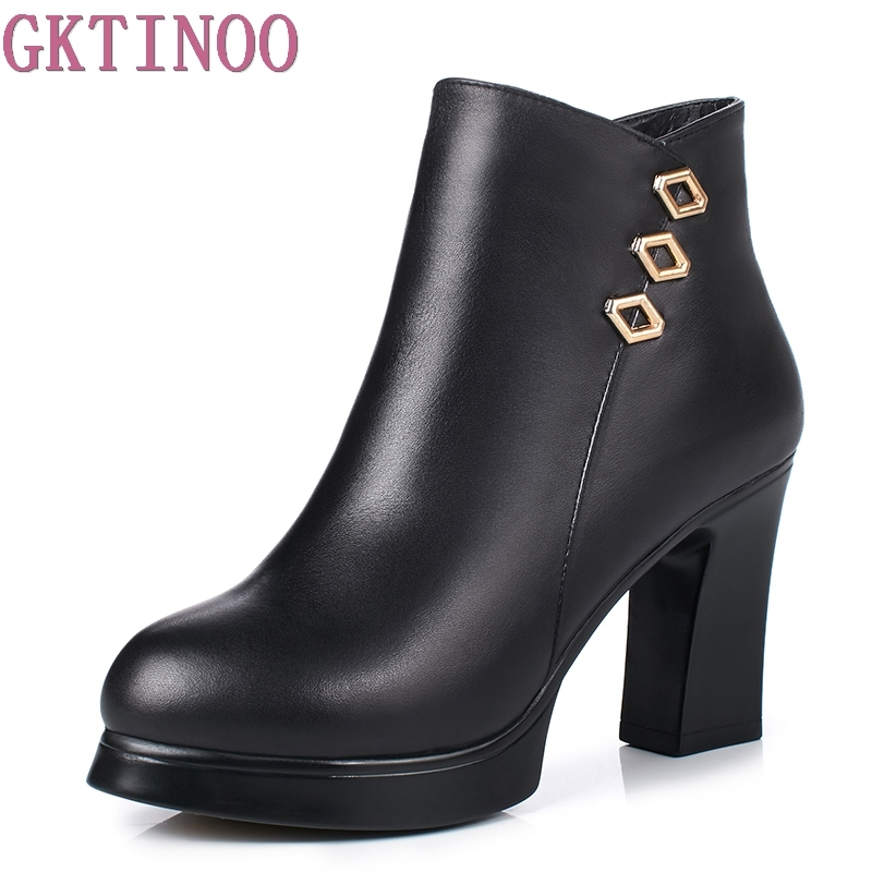 Sexy Women Boots Winter High Heels Ankle Boots Genuine Leather Shoes Women Fall Ladies Short Boots Snow Fur Zip 2018 new autumn winter genuine leather women ankle boots high heels pointed toe zip sexy ladies snow boots black women shoes