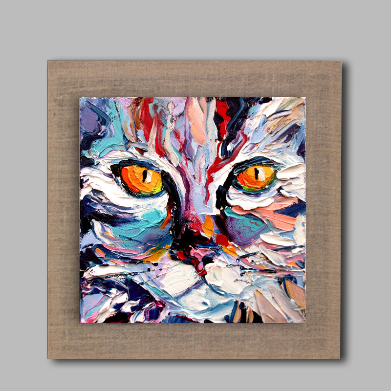 High Skills Artist 100% Hand Painted Cat Oil Painting On Linen With Frame  Handmade Abstract Painting For Office Decoration