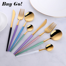 4PCS Plastics Handle Black Gold Flatware Set 18/10 Stainless Steel Cutlery Knife Fork Tableware Silverware Drop Shipping