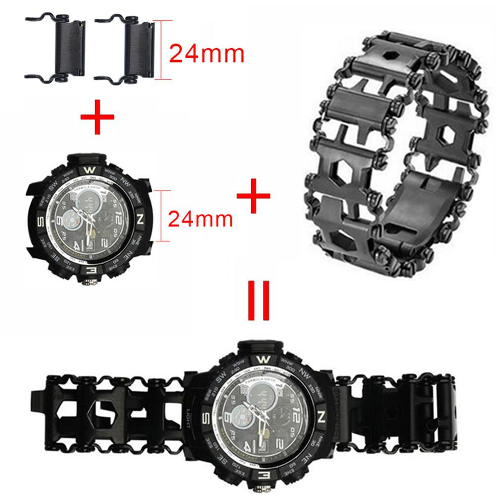 DreamBell Men Jewelry Components 1 Pair Multi-functional Outdoor Survival Tools Bracelet Watch Link BuckleDreamBell Men Jewelry Components 1 Pair Multi-functional Outdoor Survival Tools Bracelet Watch Link Buckle