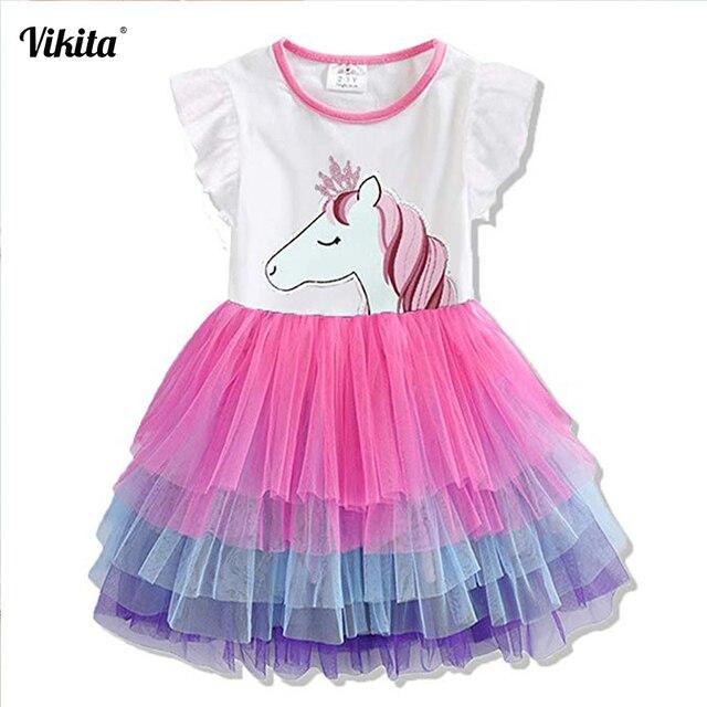 b56510749be13 VIKITA Vestidos filles robe d été dessin animé licorne robe de princesse  enfants Costume pour enfant vêtements filles sans manches robes Tutu