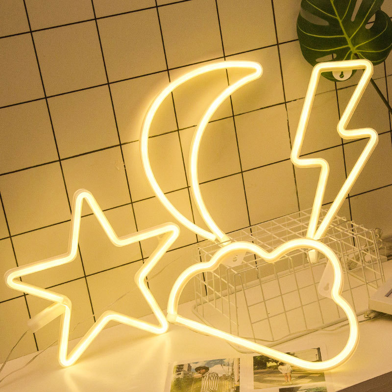 Mycyk New Neon Lights Home Decor Ins Star Moon Snow LED Light Wall Decoration Home Decoration Cafe Mural Craft Home Night Light