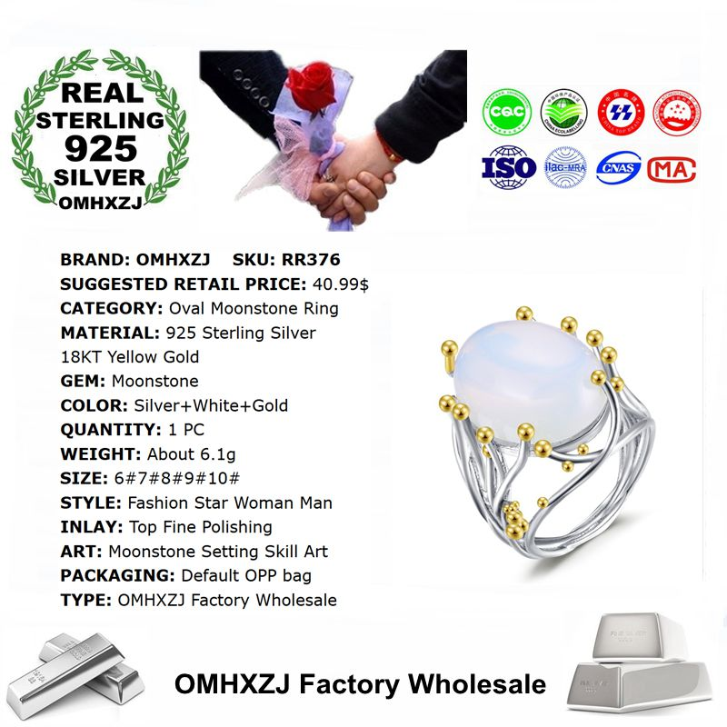 OMHXZJ Wholesale European Fashion Woman Man Party Wedding Gift White Moonstone 925 Sterling Silver 18KT Yellow Gold Ring RR376 in Rings from Jewelry Accessories
