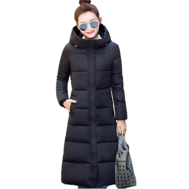 2016 Novo design de inverno de algodão-acolchoado jacket longo sobretudo das mulheres plus size doce cor Casacos & Coats verde preto vermelho F1002