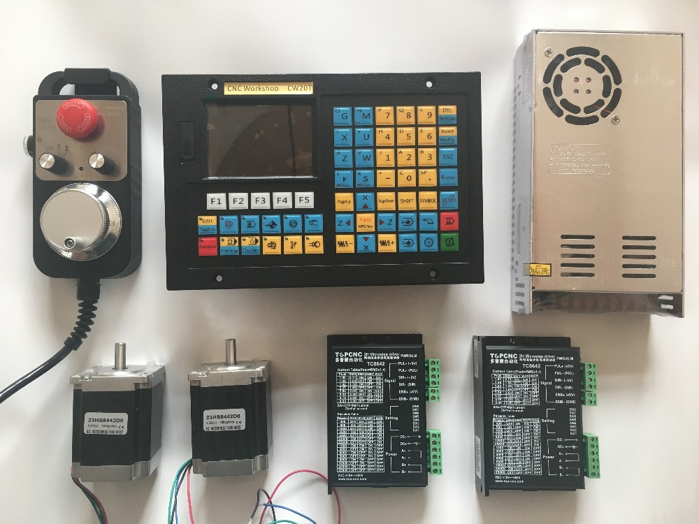 2 axis lathe CNC controller kits hand wheel MPG USB stepper servo motor CNC Control Lathe grinding machine threading spindle