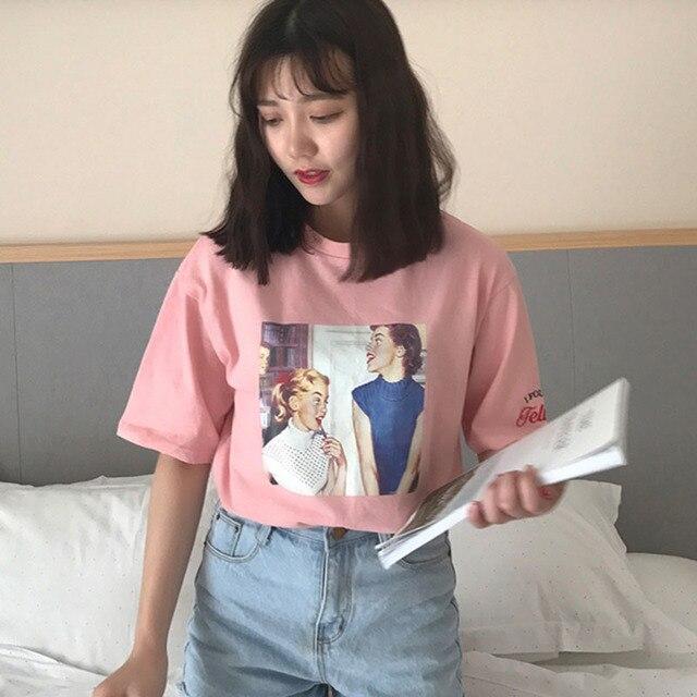 6706fed062 Harajuku Graphic Tees Women Harajuku Kawaii Summer Tops Tshirt Tumblr  Korean Ulzzang Plus Size Schoolgirl Streetwear