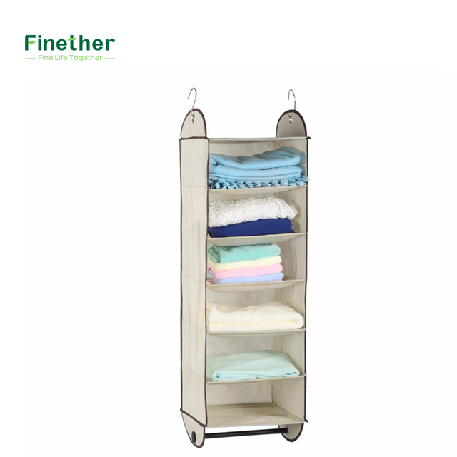 Finether Brand Foldable 6 Shelf Fabric Hanging Closet Organizer For  Accessory And Clothes Storage With