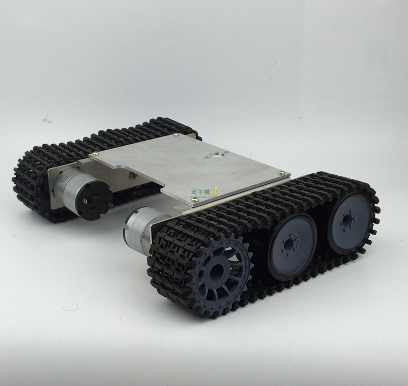 ФОТО DIY 149 Alloy Tank Chassis with Nylon Crawler belt Tracked Vehicle Robot Chassis