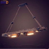 IWHD עץ לופט תעשייתי סגנון אדיסון רטרו בציר מנורת אורות תליון בר Coffe גופי תליון מנורות Lamparas Colgantes