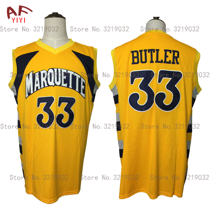 Hot New Cheap Throwback Jimmy Butler 33 Marquette Golden Eagles College Basketball Jerseys Yellow Embroidered Retro Mens Shirts boston college eagles bc university college house flag