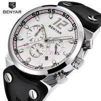 BENYAR Waterproof Quartz Silicone Black Strap reloj hombre Top Brand silver white Dial Sport Chronograph Luxury erkek kol saati