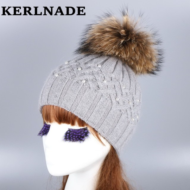 932ec9c66a0 wholesale women fashion wool winter hat with fox mink pompom luxury  rhinestone skullies girl beauty beanies woman casual gorros