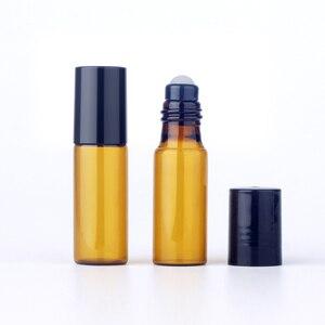 Image 5 - 100 шт./лот 5 мл мини рулон бутылок для эфирного масла многоразовая бутылка с роликовым шариком, коричневая стеклянная бутылка, аналогичные бутылки