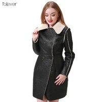 Women S Autumn Winter Long Leather Jackets 2017 Long Sleeve Black Artificial Leather Lamb Wool Warm
