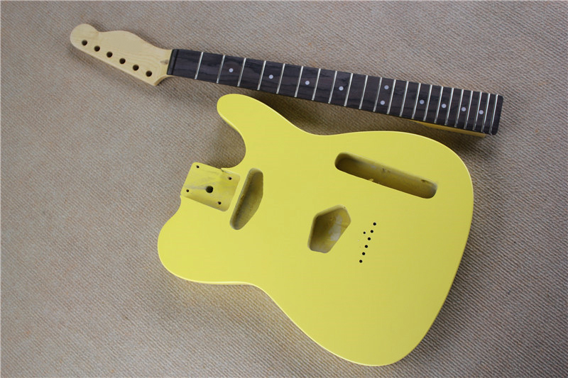 Kit de guitare électrique jaune personnalisé (pièces) avec manche en érable, Fretboard en palissandre, corps à cordes, offre personnalisée