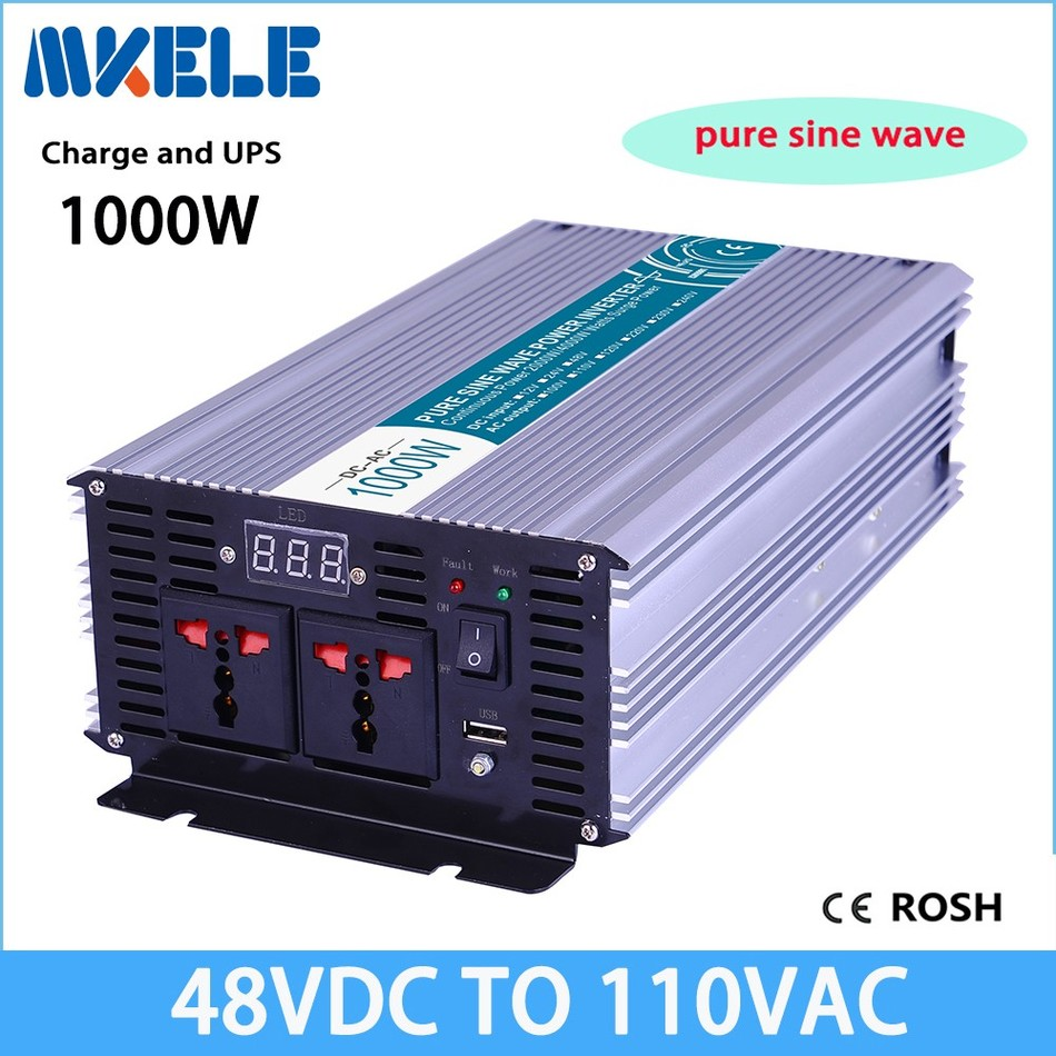 MKP1000-481-C pure sine wave 48v to 110v 1000w UPS inverter off grid solar inverter voltage converter with charger and UPS p800 481 c pure sine wave 800w soiar iverter off grid ied dispiay iverter dc48v to 110vac with charge and ups