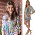 Floral Print Sexy Vintage Dress Casual Quarter Sleeve Loose Chiffon Autumn Dress Sexy V neck Ukraine Hot Plus Size Beach Dress