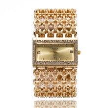 Nouveau 2016 Mode Casual Horloge Or Bracelet Montre Femmes Cristal Chaîne En Acier Inoxydable Montre Femme Montres Horloge Robe Filles