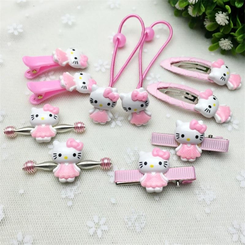 Fashion New Hair Accessories Hello Kitty Christmas Gift Girl Hair Clip Lady Headband Bow Hairpins Box Jewelry Kids Cute Ring Gum