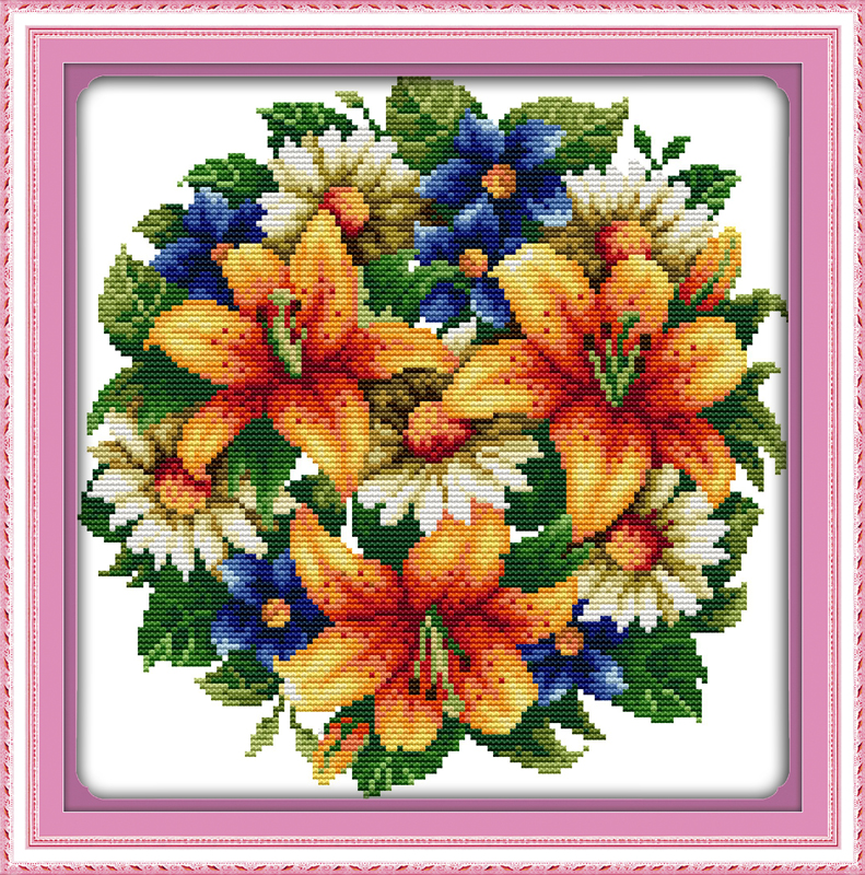 All flowers bloom together-lily cross stitch kits white 11ct print on canvas embroidery set sewing hand made crafts home decor