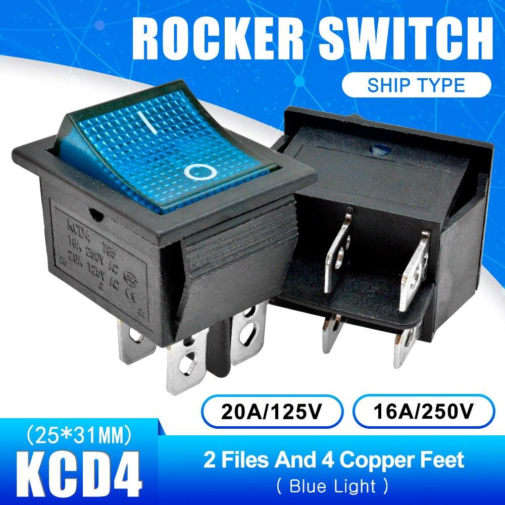 KCD4 Кулисный Переключатель Кнопка ВКЛ/ВЫКЛ 2 Позиции 4 штырей, 6pins, электротехническое оборудование с светильник Мощность переключатель 16A 250VAC AC 250V - Цвет: Blue with Light