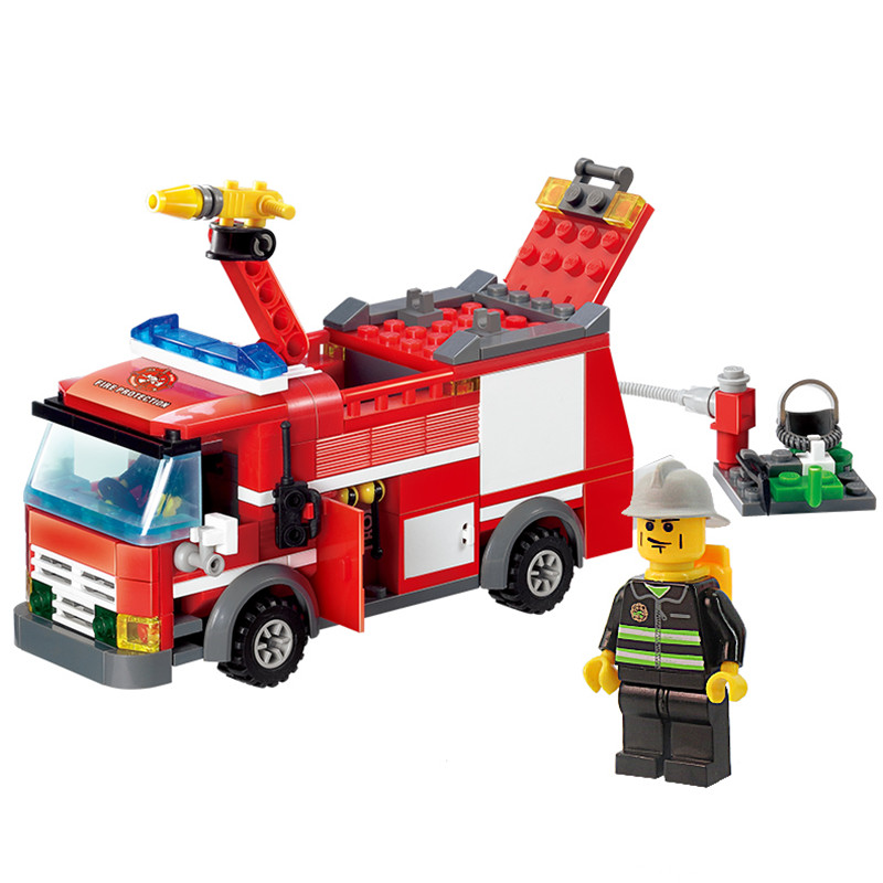 HOT 206pcs Fire Truck Building Blocks Small Particles DIY Action Figure Toys Bricks Block Set Toy Gift Compatible With Legoe free shipping happy farm set 1 diy enlighten block bricks compatible with other assembles particles