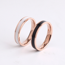 free shipping OL style 4mm black and white ceramic 316L Stainless Steel finger rings for women wholesale
