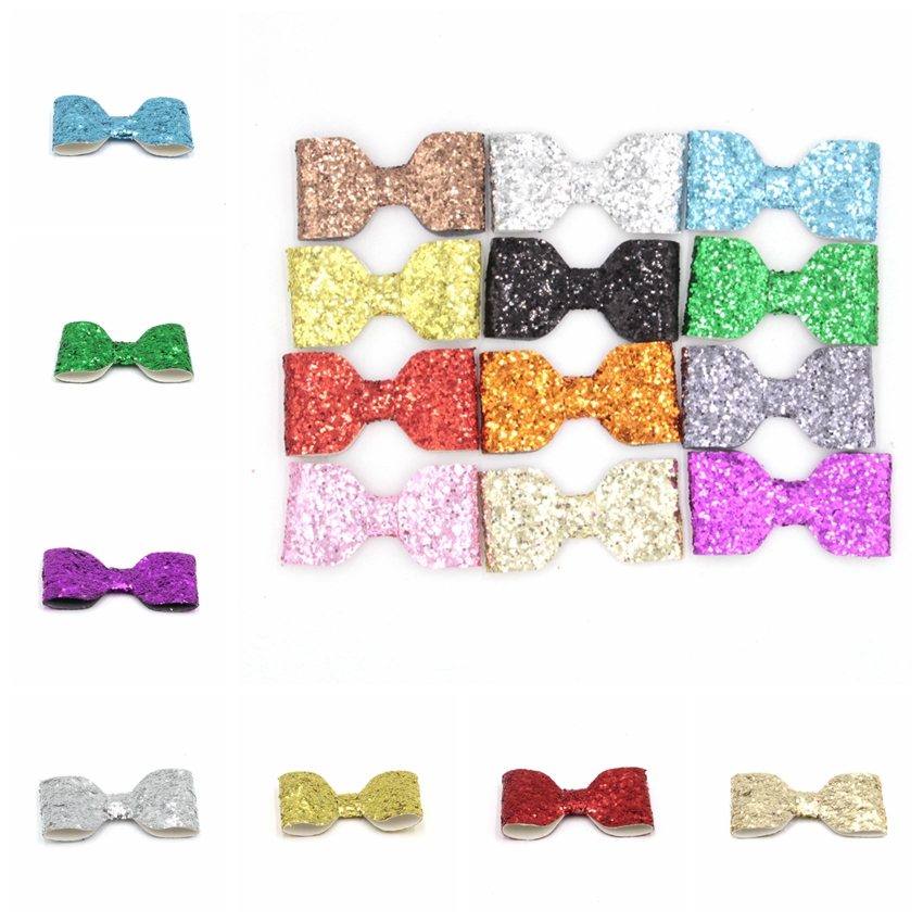 30pcs/lot 2.5''Solid Leather Bow Without/With Clip Headwear Bowknot Hair Accessory Leather Synthetic Children Hair Wear Hair Bow