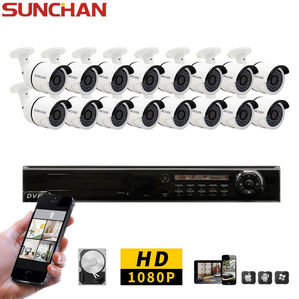 SunChan 16CH FULL HD 1080P AHD CCTV DVR System 16PCS 2.0 Megapixels Outdoor IR Security Camera Home Surveillance System 3TB HDD