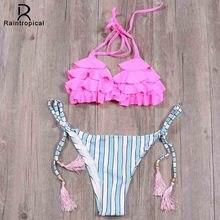Raintropical  New Sexy Push Up Bikinis Women Print Swimsuits Vintage Swimwear Female Brazilian Bikini Sets Women Bathing Suits