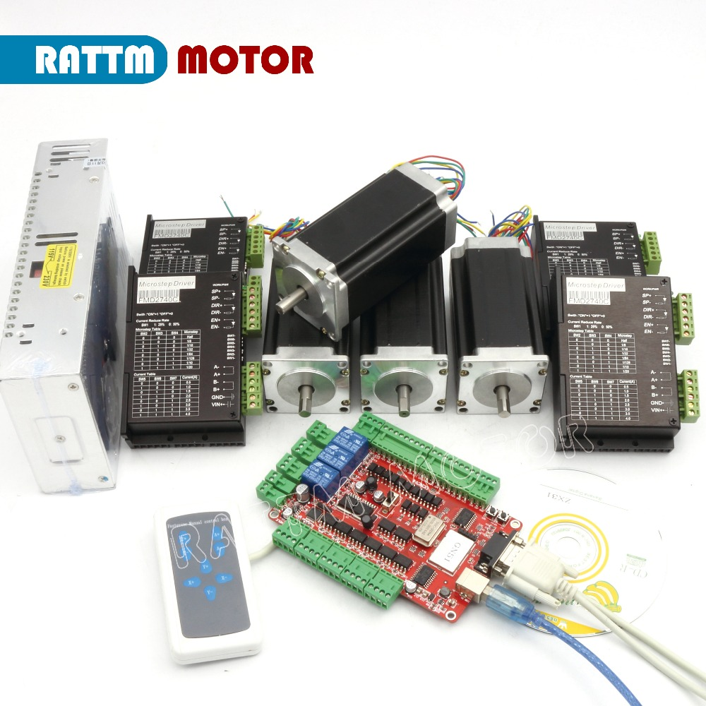 RUS/ EU Delivery! 4 Axis CNC kit Nema 23 Stepper Motor(Dual Shaft) 425oz in 3A & Motor Driver 40V 4A &Power supply RATTM