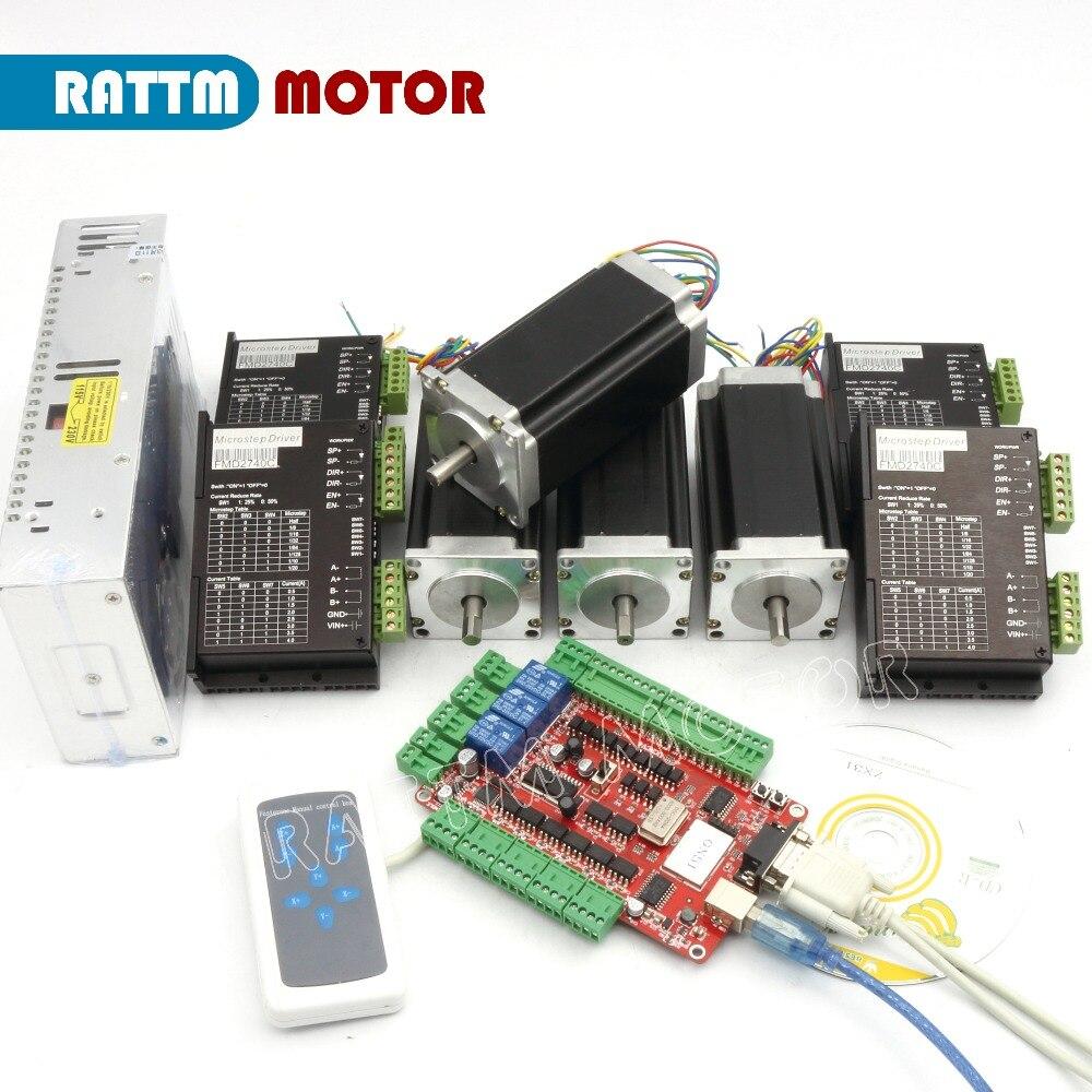 RUS/UE Entrega! 4 23 eixo CNC kit Nema Motor de Passo (Dual Eixo) 425oz-in 3A & Motor RATTM Motorista 40 V 4A & fonte de alimentação